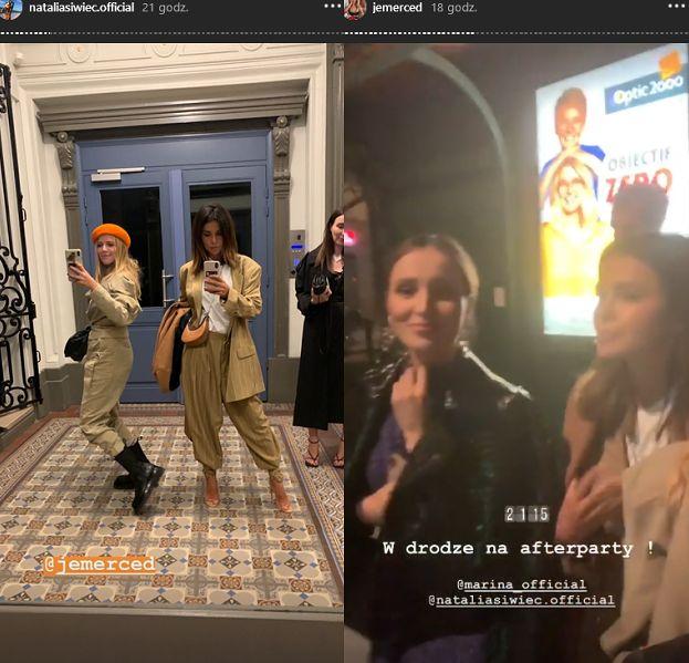 Imprezowe fashionistki Jessica Mercedes, Marina Łuczenko i Natalia Siwiec tanecznym krokiem zmierzają na afterparty po pokazie Isabel Marant