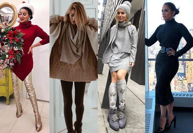 Ciepłe swetrowe sukienki - najlepsze stylizacje