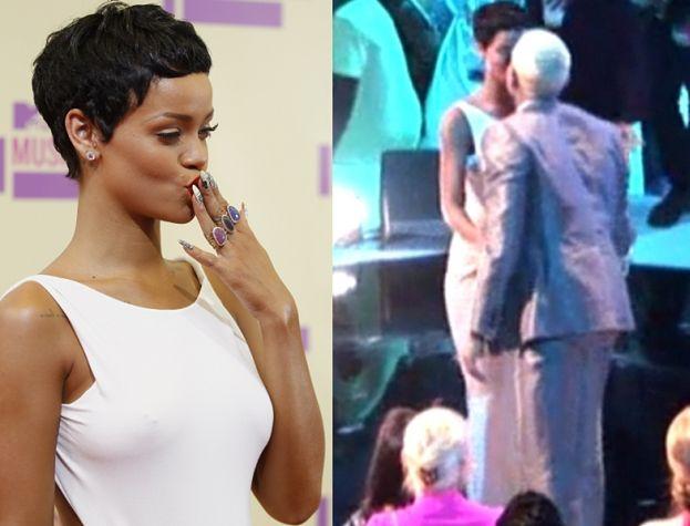 Rihanna w krótkich włosach... całuje Browna! (ZDJĘCIA)