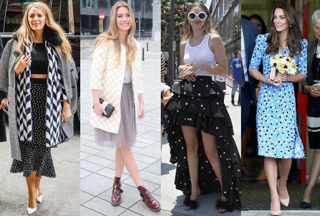 Moda na retro: gwiazdy w ubraniach w kropki