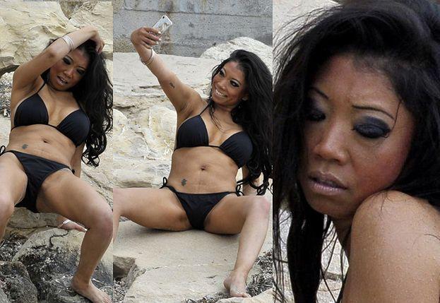 """""""Przyjaciółka"""" Paris Hilton fotografuje sobie krocze i wije się na skałach (ZDJĘCIA)"""