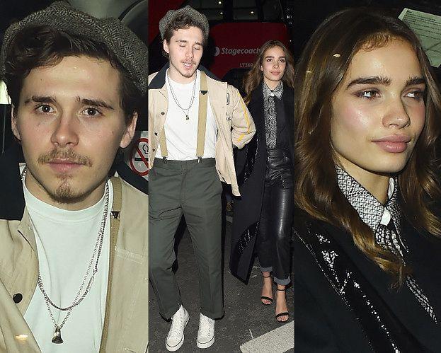 Modny Brooklyn Beckham wyprowadza dziewczynę z imprezy