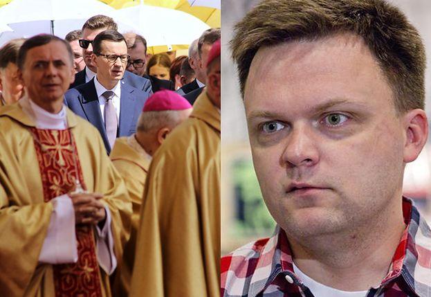 """Hołownia oburzony wystąpieniem Morawieckiego na Jasnej Górze: """"To ciężka PATOLOGIA, gdy premier przemawia w kościele"""""""