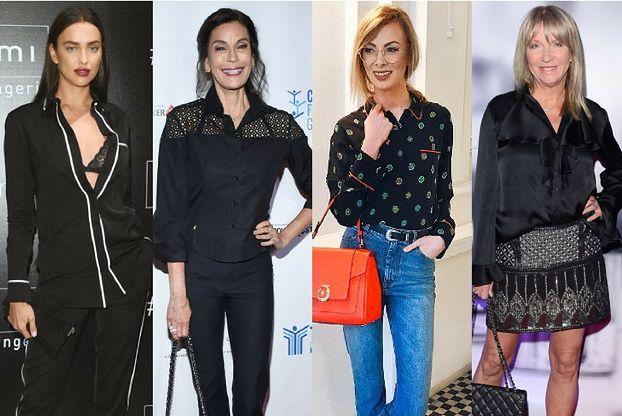 Damska czarna koszula - styl biznesowy w wydaniu celebrytek