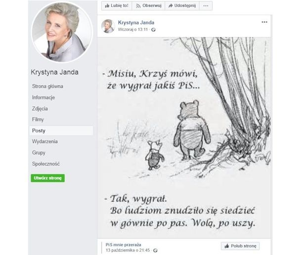Krystyna Janda porównała wyborców PiS-u do TANIEJ PROSTYTUTKI! Potem wpis zniknął