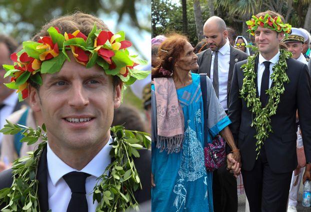 Emmanuel Macron w wianku na głowie i girlandzie z kwiatów paraduje po Nowej Kaledonii (ZDJĘCIA)