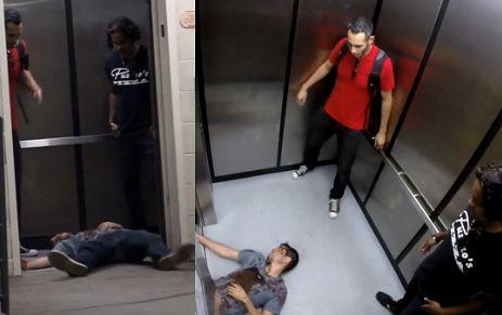 Morderstwo w windzie! OKRUTNY ŻART?