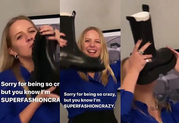 Bliska omdlenia Jessica Mercedes PISZCZY, PODSKAKUJE I CAŁUJE buty warte 3800 złotych, które dostała ZA DARMO (FOTO)