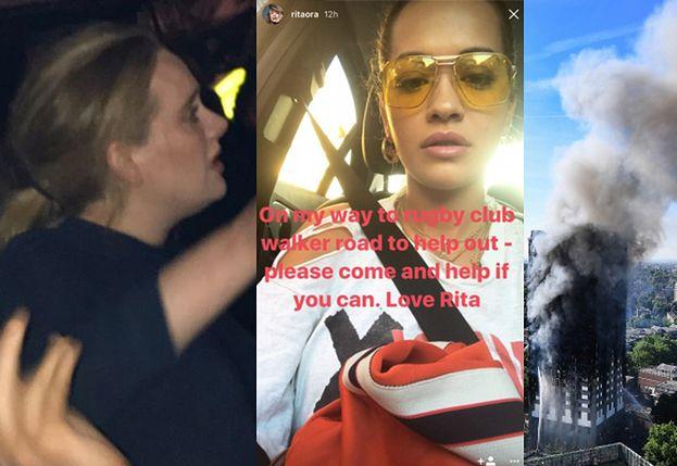 """Adele i Rita Ora przyjechały na miejsce pożaru wieżowca w Londynie! Adele """"przytulała każdego"""", Rita nosiła butle z wodą"""