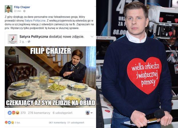 """Satyryczny fan page ŚMIEJE SIĘ ZE ŚMIERCI syna Filipa Chajzera. """"Wystarczy tylko podpierdolić tę ku*wę"""""""