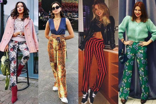 Z czym celebrytki noszą wzorzyste spodnie?