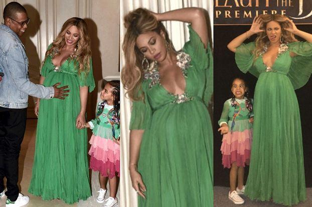"""Ciążowy brzuch i wielkie piersi Beyonce na premierze """"Pięknej i Bestii"""" (ZDJĘCIA)"""