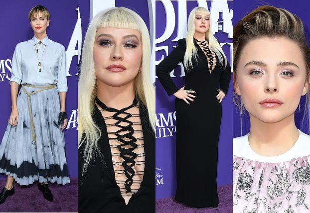 """Premiera """"Rodziny Addamsów"""": Christina Aguilera przebrana za Morticię, """"chłopięca"""" Charlize Theron, odmieniona Chloe Grace Moretz (ZDJĘCIA)"""