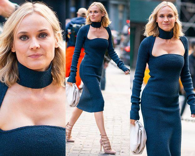 Zjawiskowa Diane Kruger kusi dekoltem w dzianinowej sukience