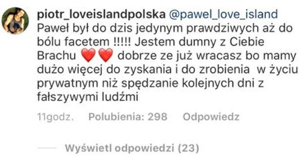 """Piotr z """"Love Island"""" podsumowuje uczestników: """"To nie wyspa miłości, to wyspa FAŁSZYWYCH MORD"""""""