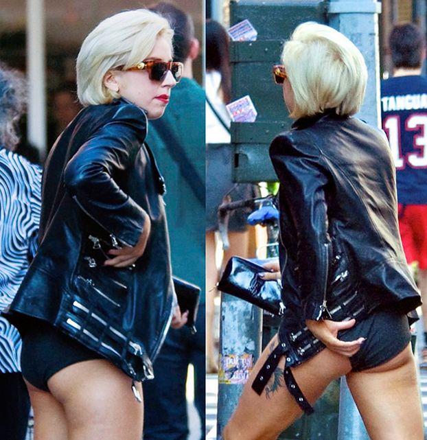 Lady Gaga w żałobie... świeci pośladkami! (ZDJĘCIA)