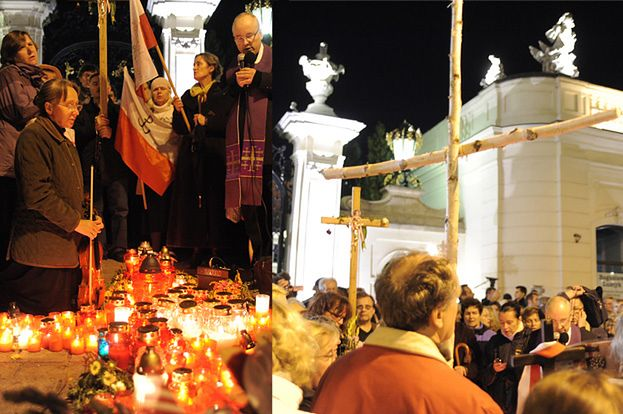 "Nocne protesty ""pod krzyżem""... (ZDJĘCIA)"