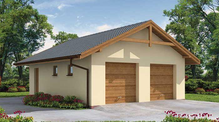 Zdjęcie 1 projektu G1a garaż dwustanowiskowy z pomieszczeniem gospodarczym SLN1004