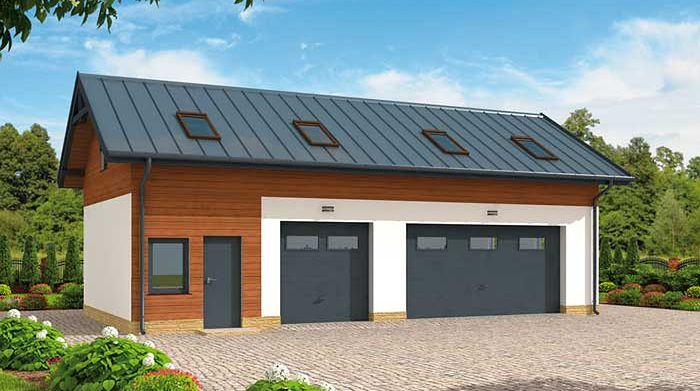 Zdjęcie 1 projektu G299 garaż trzystanowiskowy z pomieszczeniem gospodarczym i poddaszem użytkowym SLN1583