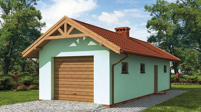 Zdjęcie 1 projektu G1m bis garaż jednostanowiskowy z pomieszczeniem gospodarczym SLN1473