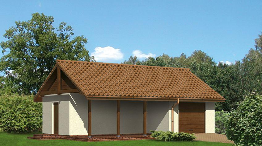 Zdjęcie 1 projektu Murator G17a Garaż z pomieszczeniem gospodarczym i wiatą rekreacyjną WAJ3207