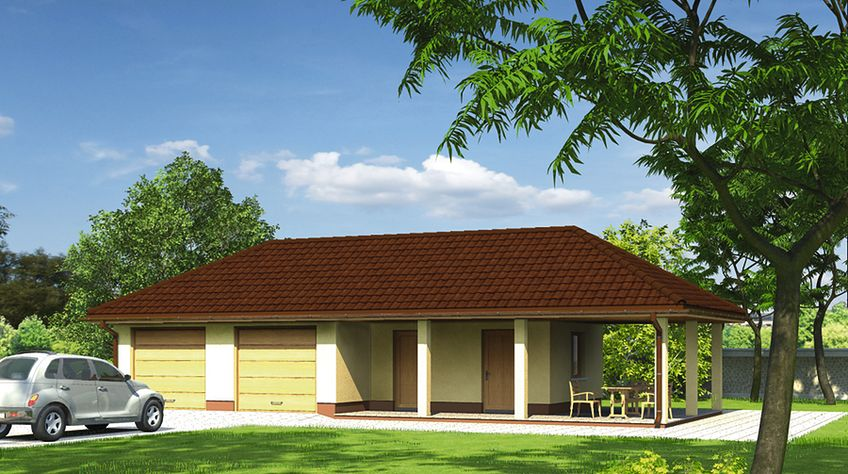 Zdjęcie 1 projektu Murator GC76 Garaż z pomieszczeniem gospodarczym i wiatą rekreacyjną WAJ3213