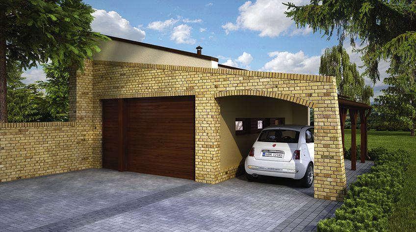 Zdjęcie 1 projektu Murator GC86 Garaż z wiatą WAJ3295