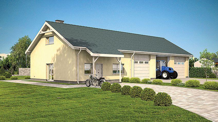 Zdjęcie 1 projektu Murator GMC56 Budynek garażowo-magazynowy z częścią mieszkalną i pom. pomocniczymi WAJ3606
