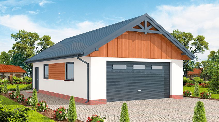 Zdjęcie 1 projektu G272 szkielet drewniany garaż dwustanowiskowy SLN2540
