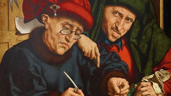 """Quentin Massys, """"Poborcy podatkowi"""", ca. 1525-1530"""