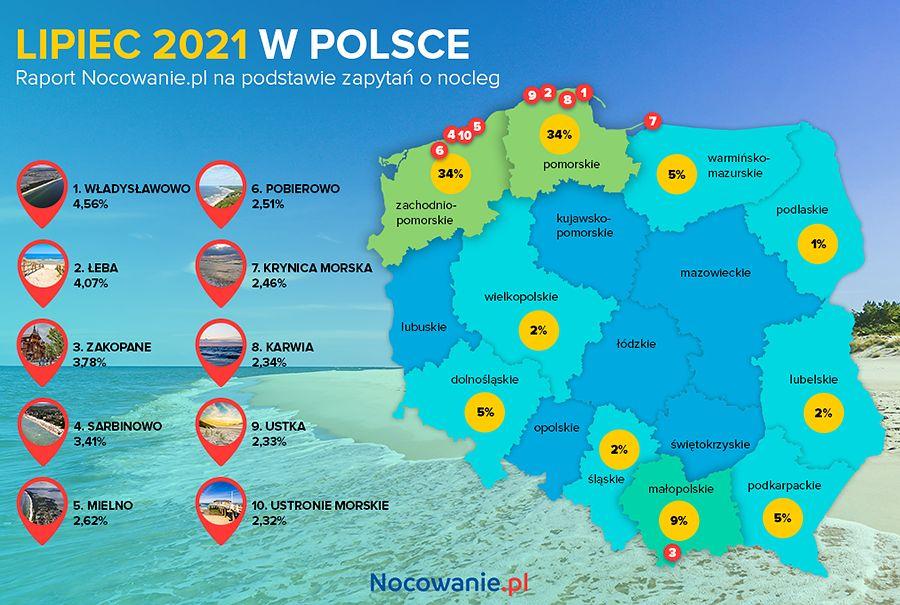 Wakacje w Polsce. Gdzie Polacy najchętniej wyjeżdżali w lipcu? - mapa Polski z zaznaczonymi województwami.