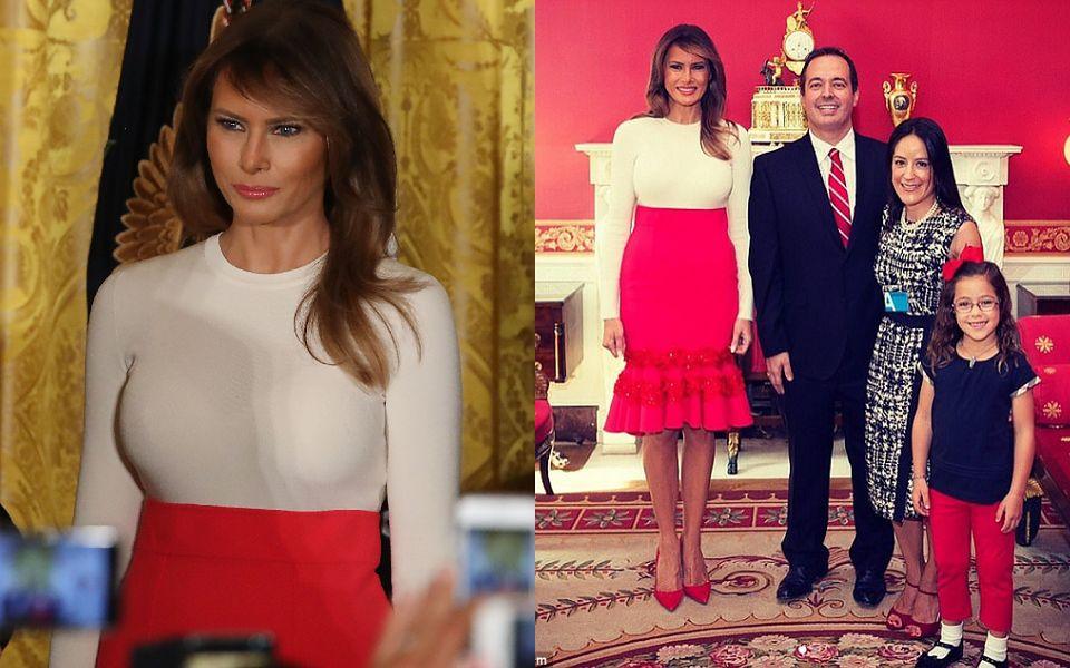 2Wielu komentatorów uznało, że strój 47-latki to faux pas, bo na spotkaniu obecne były dzieci