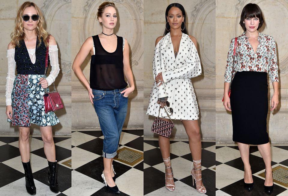 2Diane Kruger, Jennifer Lawrence, Rihanna i Milla Jovovich na pokazie Diora