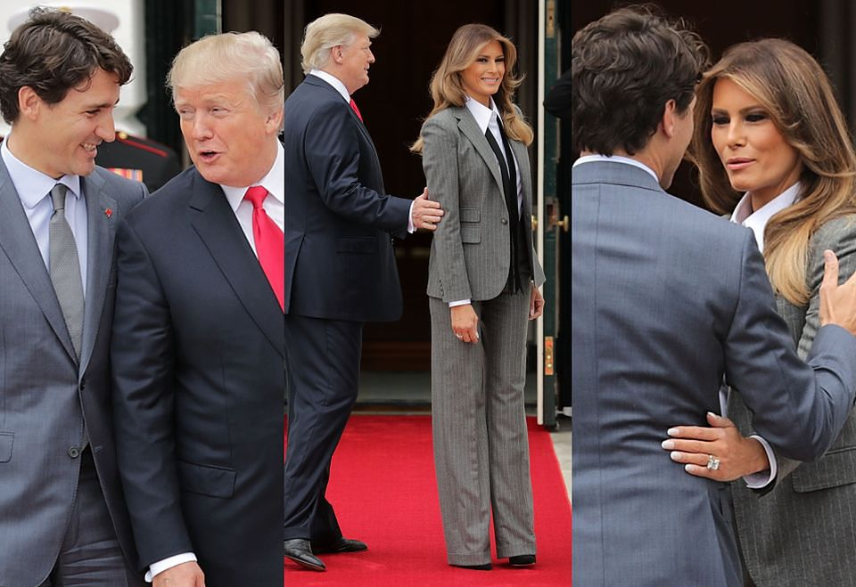 2Donald i Melania Trump spotkali się z Justinem Trudeau