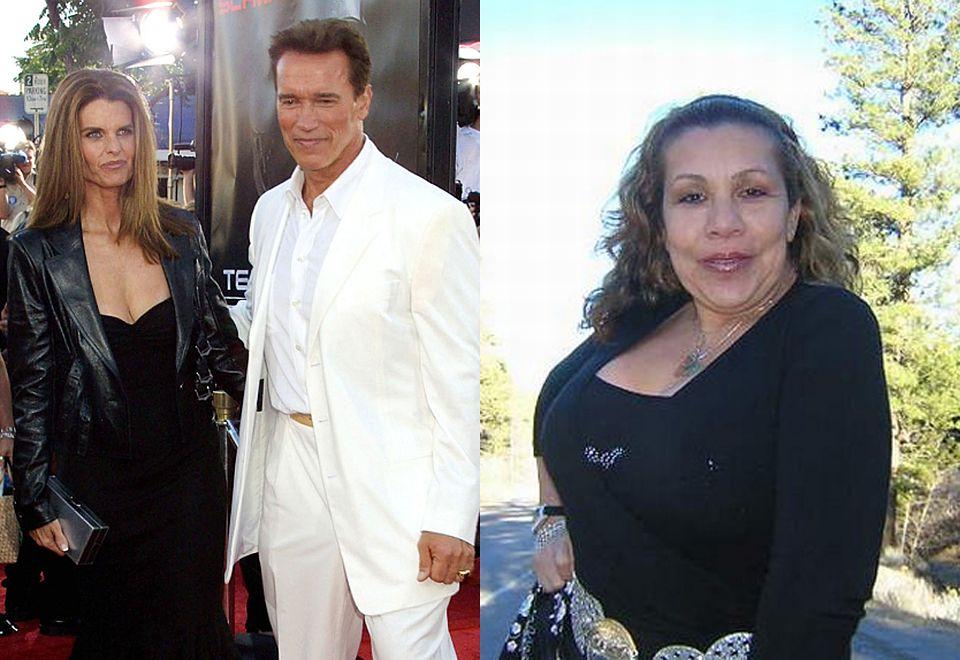 """2Arnold Schwarzenegger w trakcie małżeństwa z Marią Shriver zaliczył """"skok w bok"""" z Mildred """"Patty"""" Baeną. Gdy w 2011 roku okazało się, że opiekunka do dzieci jest w ciąży, małżeństwo się rozpadło. Baena urodziła Arniemu syna, który dzisiaj wygląda jak jego kopia."""