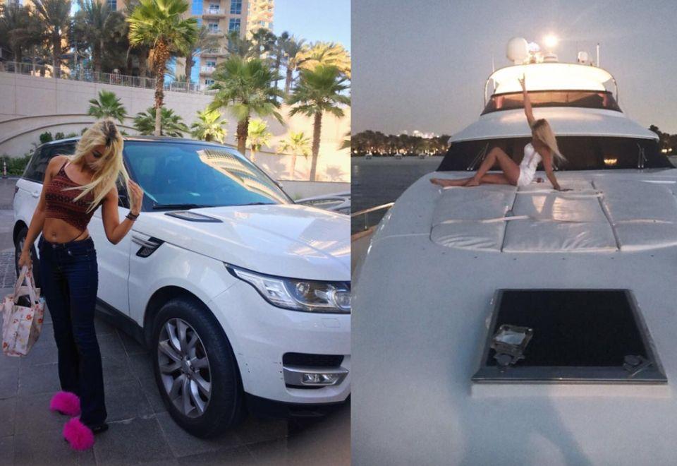 2Uwielbia też jeździć luksusowymi samochodami i jachtami
