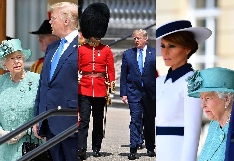 2Poważni Donald i Melania Trump na audiencji u królowej Elżbiety