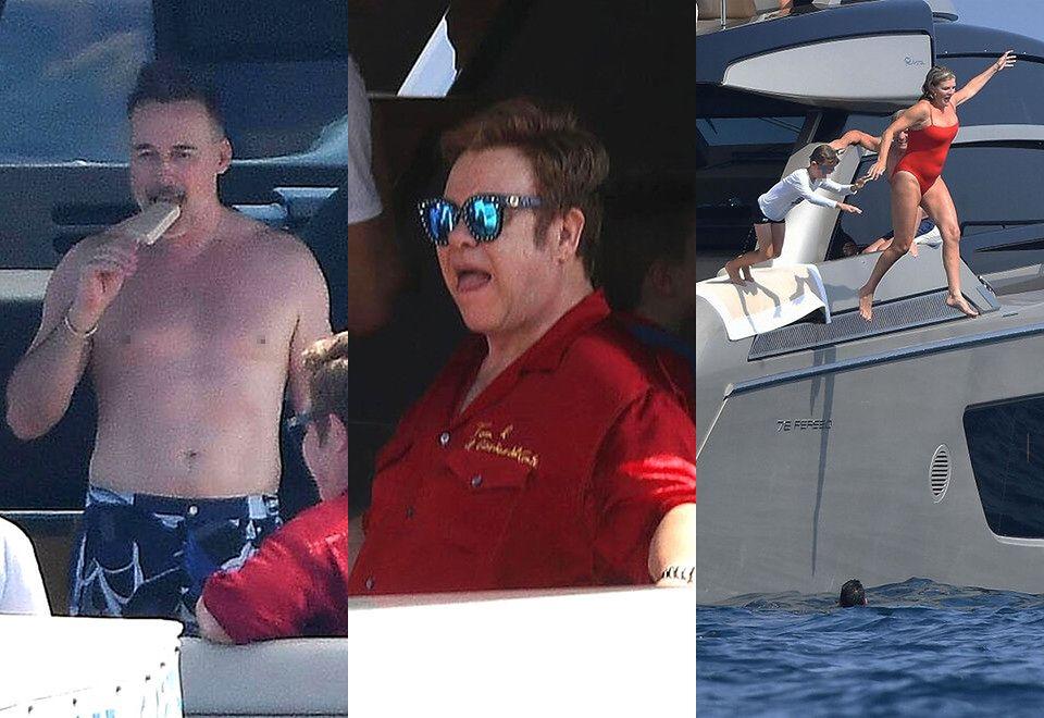 2Elton John wypoczywa z mężem i przyjaciółmi na jachcie w Monako