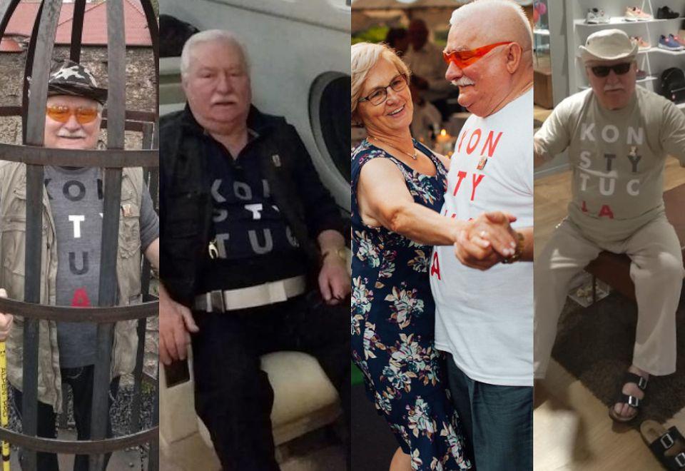 """2Lech Wałęsa w koszulce z napisem """"konstytucja"""""""