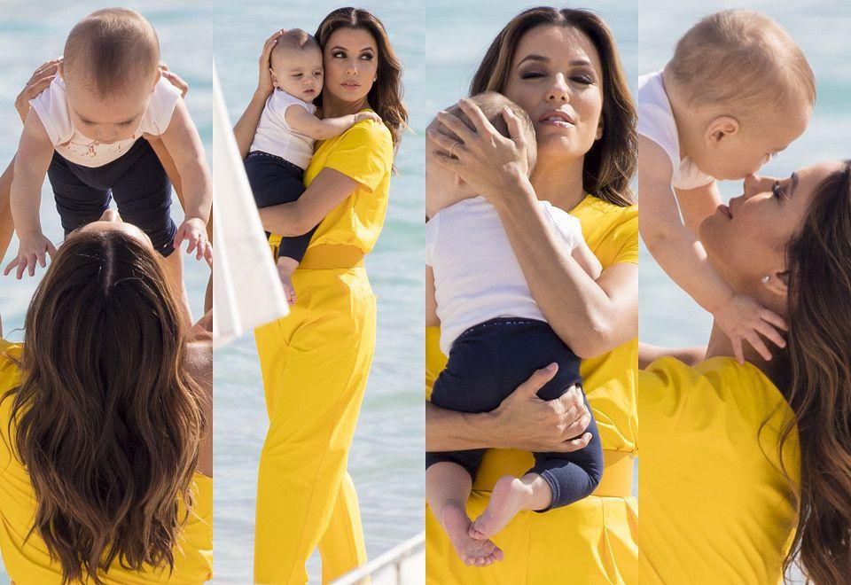 2Eva Longoria bawi się z małym Santiago na plaży w Cannes