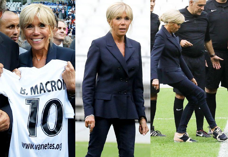 2Wesoła Brigitte Macron gra w piłkę na paryskim stadionie