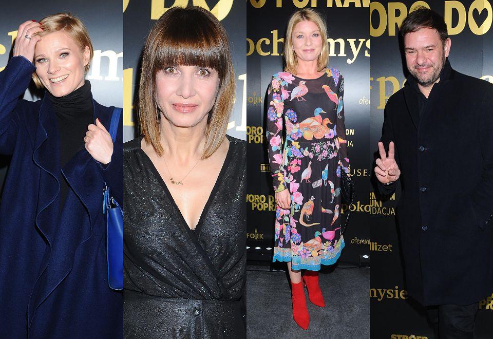2Gwiazdy spędzają piątkowy wieczór w teatrze: zakłopotana Głogowska, błyszcząca Wolszczak, zadowolony Karolak...