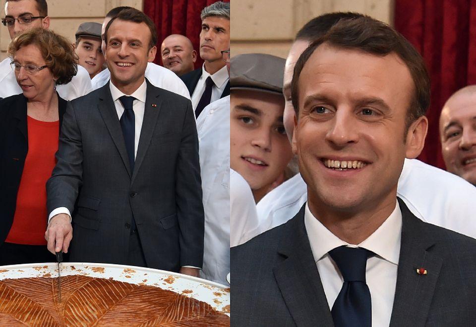 2Prezydent Francji z żoną pokroili tradycyjne ciasto