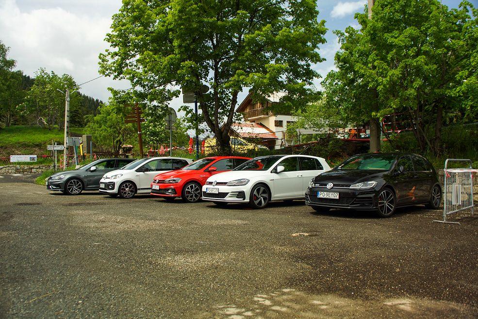 Od lewej: Golf GTI, up! GTI, Polo GTI, Golf GTI i Golf GTD. Brakuje jeszcze Golfa R.