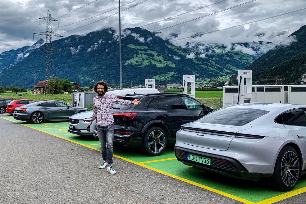 Audi e-tron GT, Audi e-tron S i Porsche Taycan prawie na finiszu liczącej ponad 1000 km trasy