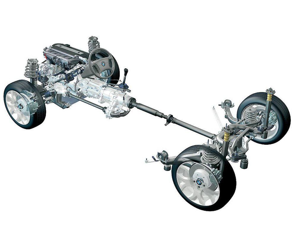 W tym przypadku widok na układ napędowy niemieckiej marki BMW.