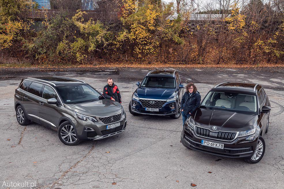 Nasz długodystansowy Kodiaq podejmuje wyzwanie dwóch czołowych siedmioosobowych SUV-ów. Sprawdzamy, jak wypada na tle nowego Hyundaia Santa Fe i Peugeota 5008 (fot. Konrad Skura)