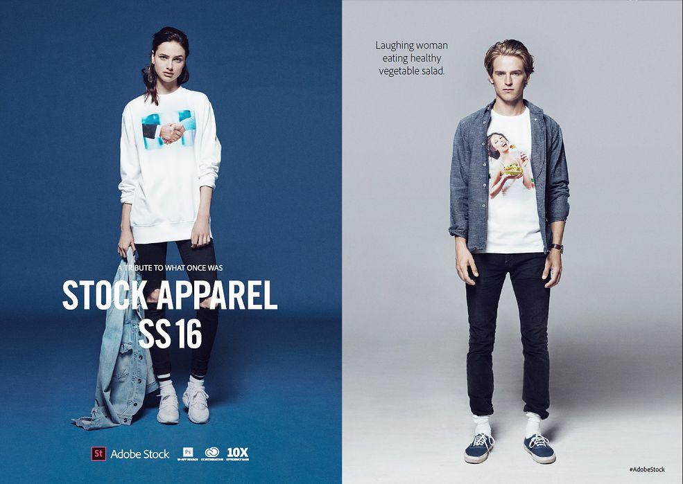 """Firma Adobe postanowiła wydać bardzo prostą, aczkolwiek zabawną linię odzieżową - """"Adobe Stock Apparel"""". Na koszulkach znajdziecie najgorsze zdjęcia stockowe, jakie możecie sobie wyobrazić. """"Dziwny Pan ze stocków"""" to tylko jedna z odsłon okropnych fotek."""
