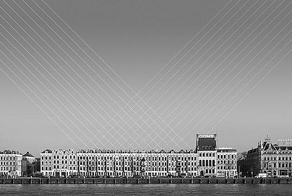 1 Zwykle panoramy miast są bez życia. Dennis Duinker znalazł sposób na to, by je ożywić. Geometryczne linie, strumienie światła dodają dynamiki statycznym krajobrazom.  © Dennis Duinker