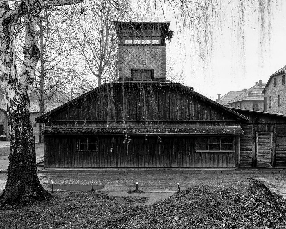 """Cykl zdjęć """"Auschwitz – ultima ratio ery modernizmu"""" wykonanych przez Tomasza Lewandowskiego powstał w celu umożliwienia analizy architektury budynków obozu zagłady. Fotograf w swojej pracy zadbał o to, by zdjęcia wykonane były w podobnych warunkach oświetleniowych, tak by ich odmienność nie wpływała na neutralną analizę."""